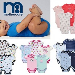 Mothercare 5 pure Soft Cotton Bodysuits- Short Sleeve (0-9mths)