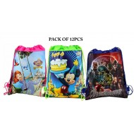 Party Drawstring Bag- assorted characters- pack of 12