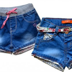 Girls Denim Turn-up Shorts (3mths- 3yrs)