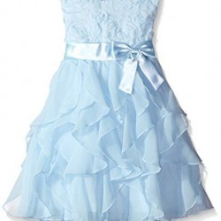 American Princess Infant & Toddler Girl's Ruffled Party Dress- Blue (2T-5T)