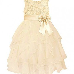 American Princess Infant & Toddler Girl's Ruffled Party Dress- Cream (3T)