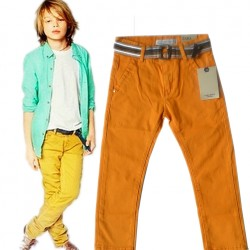 Zara Boys Mustard stretch Straight pants with Belt (4-5yrs)