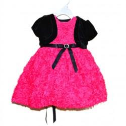 Bella by Marmellata Pink Petals Dress with Black Bolero (12mths, 18mts)