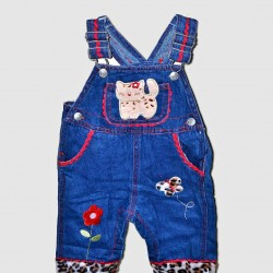 Baby Girl Denim Jeans Dungarees with animal print design 3-6mths