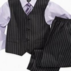 Dockers Stripe 4piece Boys Suit Set- Shirt, Tie, Vest, Pants (6yrs)