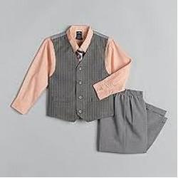Dockers Taupe Boys 4 Piece Vest Set- 5yrs