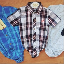 Baby Boys Short Sleeve Romper Shirts -  6mths - 24mths