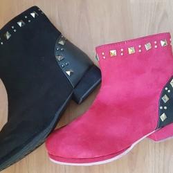 Goldfly Velvet Boots- Red/ Black