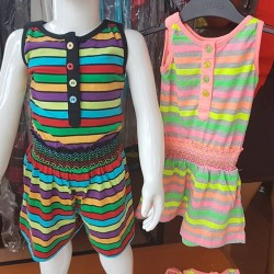 Girls Striped Playsuits