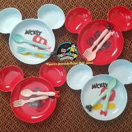 Mickey Mouse Melanine Feeding Section Plate and Cutlery Set