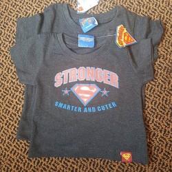 "Boys ""Stronger, Smarter and Cuter"" Superman Baby Tees - 6-9mths, 9-12mths, 18-24mths"