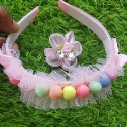 Beaded Princess Tiara Headband With One Jewel Hair Clip