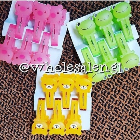 Animal Cartoon 6 Pack Clothes Pinch/Peg - 3 colours