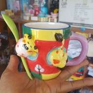Dainty Novelty Cow Mug with Spoon - yellow & red