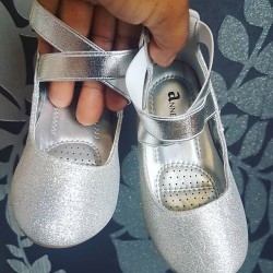 Anne Marie Moana Silver Shimmer Crossstrap Ankle Shoes - Size 4, 5, 6, 7, 8 (Size 21, 22, 23, 24, 25)