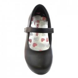 Walkright Girls Black Matte Bar Shoe