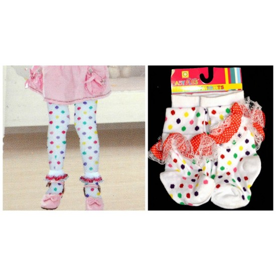 Baby plus Polka dot Girls Cotton Tights with Lace timmings (0-6, 6-12mths)