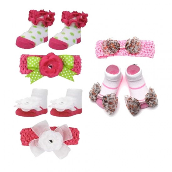 Cutie Baby Girl Newborn hair Bands and Booties Set (0-6mths)