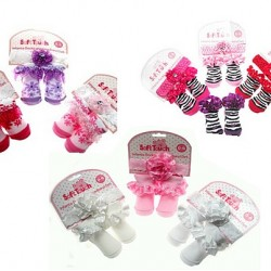 Soft touch Baby Girls Dainty headband & Booties set - assorted designs