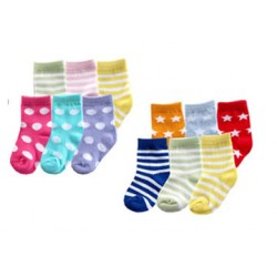 Luvable Friends 6 Pack Fun Stripe Combo Socks- Boys, Girls (0-6, 6-18mths)