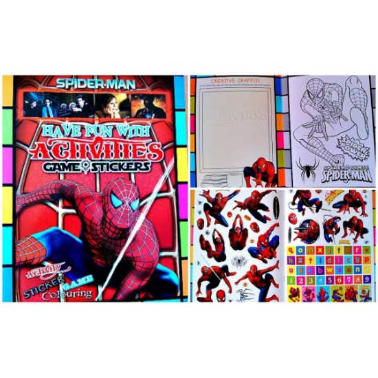 Activity, Games, Fun Sticker Book- Winnie, Barbie, Hello kitty,Spiderman