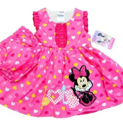 Disney Minnie Mouse 2piece Set (Cotton Dress & Bloomers) 12mths, 18mths, 24mths