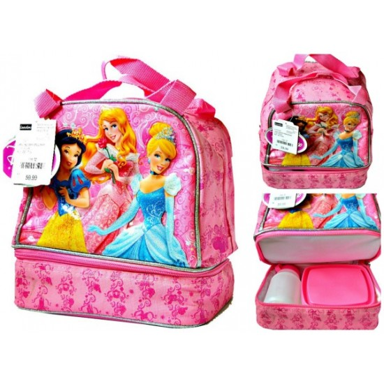 Disney Princess Dual Compartmen Large Lunch bag with Plate and Bottle