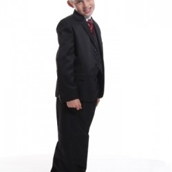 Boys 5 pcs Formal Suit Set- Jacket, Shirt, Waist Coat, Tie and Trousers- 10, 12, 14yrs (Brown & Black)