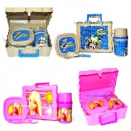 Kids Plastic Lunch box with plate, bottle & cutlery (Barbie, Cartoon Network)