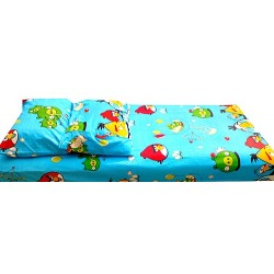 Angry Birds Bedsheet & 2 pillows - 4ft x 6ft