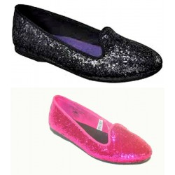 Cherokee Glitter Genice Flat Shoes- US Size 1, 2 (Pink & Black)