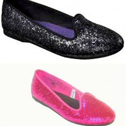 Cherokee Glitter Genice Flat Shoes- US Size 1, 2 (Pink & Black)