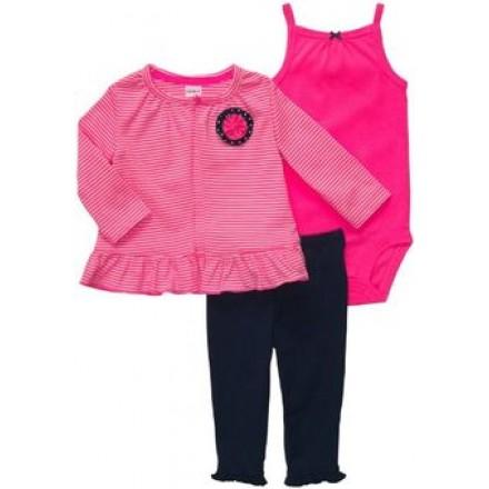 Carter's Baby Girls' 3-piece Striped Cardigan Leggings Set- 9mths