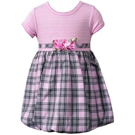 Youngland Pink Plaid Bubble Dress- 12mths