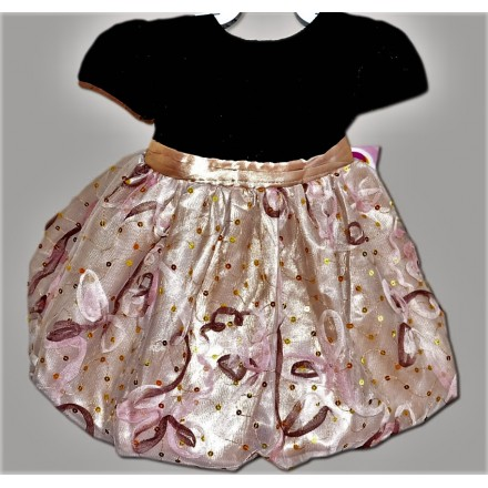 Youngland Baby girl Velvet Bubble Dress with Sequin and Embroidery(12mths, 24mths