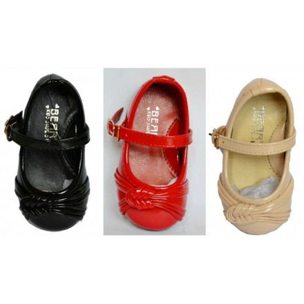 Bear Patent Toddler Dress Shoes- 3 colours- Red, black, Cream- size 20 & 22