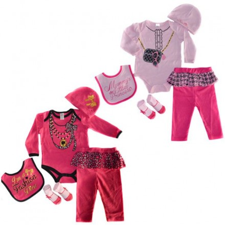 BABY GIRLS 5 PIECE SET BY SOFT TOUCH (0-9mths)