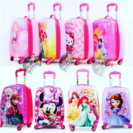18inches Girls Cartoon 4 wheel rolling Luggage Trolley