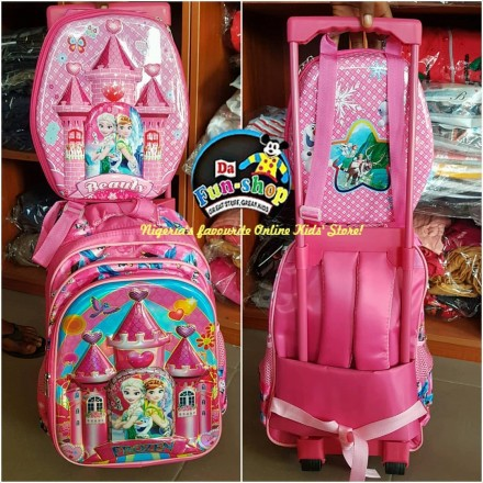 Disney Princess & Sofia 17inches Castle design trolley and lunchbag set