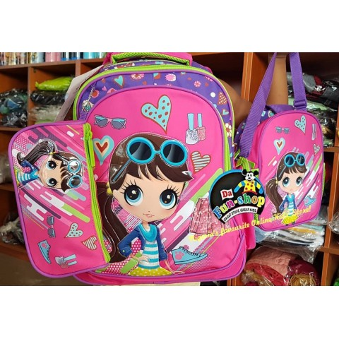 Glossy bird girls 3pcs school