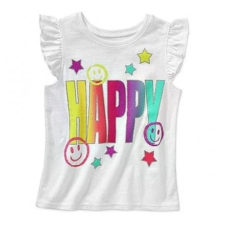 Garanimals Baby Toddler Girl 'Happy' Flutter Tee- 6-9mths