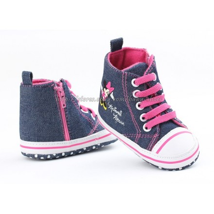 BabyGirls Minnie Mouse Denim Hi-top prewalker sneakers- 0-9mths