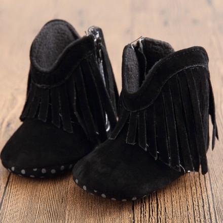 Baby Girls Black Tassel Prewalker Boots- 0-9mths