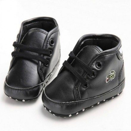 Lacoste baby boys black prewalker shoes- 3-6mths