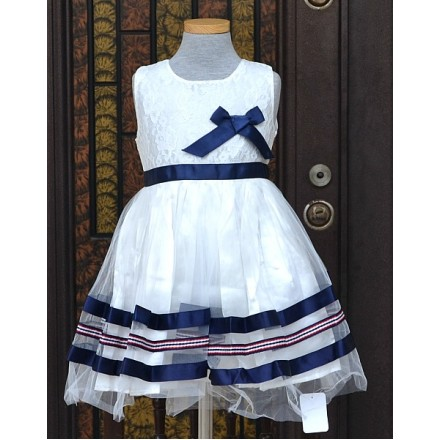 Mothercare Girls Blue & White Ribbon Party Dress- 3-4yrs