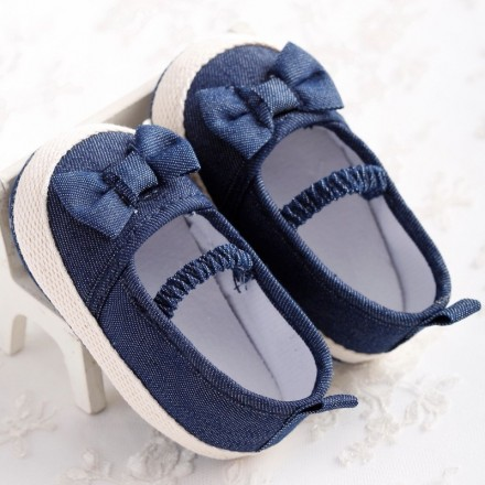Baby Girl Denim Bow Prewalker Shoes- 0-3mths, 3-6mths