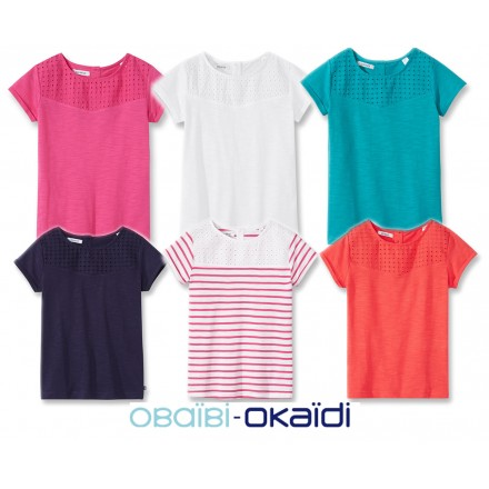 Okaidi Girls English Crochet Girls Tees- assorted colours - 2-10yrs