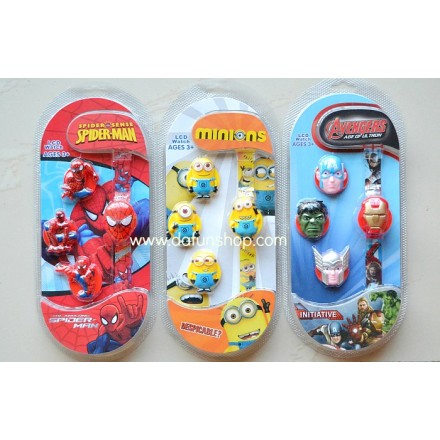 Cartoon Kids Interchangeable LCD watch- Minions, Spiderman, Avengers