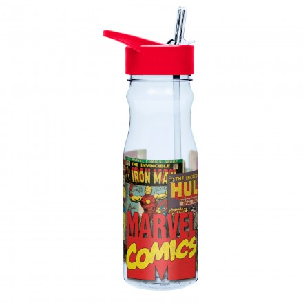 Marvel Comics Superheros Large Water Bottle with Straw- 739ml