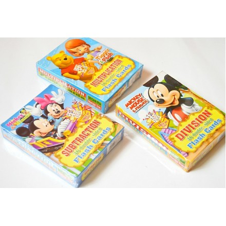 Character Division/Subtraction/Multiplication Double-sided Flash Cards- Mickey, Pooh, Spongebob